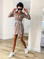Женское молодежное платье-рубашка для девушек пояс с надписью Velsatino размер 42-52, цвет уточняйте при заказ