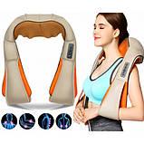 Масажер для шиї, спини з ІЧ-підігрівом   Massager of neck kneading Plus   Роликовий масажер-накидка на плечі, фото 4