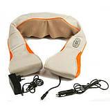 Масажер для шиї, спини з ІЧ-підігрівом   Massager of neck kneading Plus   Роликовий масажер-накидка на плечі, фото 7