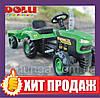 Педальний Трактор Dolu 8053 зелено-чорний з причепом