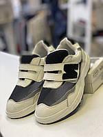 Літні шкіряні кросівки на хлопчика з сіткою, чорно-білі