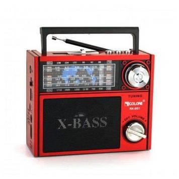 Радиоприемник GOLON RX-201 FM/AM/SW фонарик Красный (200847)