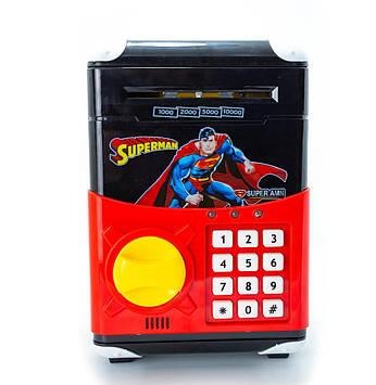 Дитячий сейф скарбничка з кодовим замком і купюропріємником Coins Bills Супермен (101293)