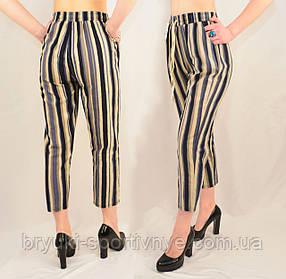 Женские укороченные летние льняные полосатые брюки Синие полосы, XL