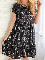 Женское летнее повседневное платье свободного кроя. Размеры: 42-44, 46-48, 50-52. Цвет: чёрный, лаванда, мята.