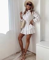 Женское молодежное платье для девушек пояс на резинкедвухуровневая юбкаразмер 42-48, цвет уточняйте
