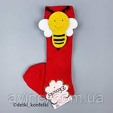 Носки гольфы пчёлки на липучке для девочки Красные Турция 12-24 (р)