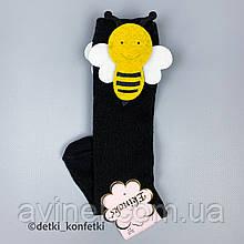 Носки гольфы пчёлки на липучке для девочки Чёрные Турция 12-24 (р)