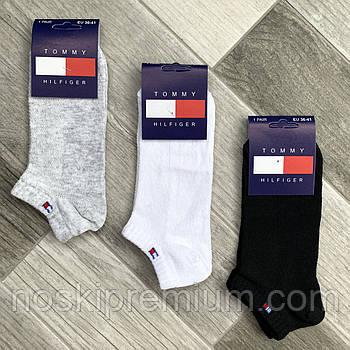 Носки женские спортивные короткие хлопок с сеткой Tommy Hilfiger, размер 36-41, ассорти, 04720
