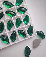 Стразы пришивные Топорик 12х19 мм Emerald (зеленый), стекло