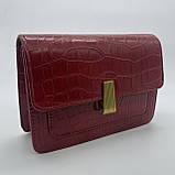 Женская классическая сумочка кросс-боди на ремешке через плечо рептилия крокодил питон красная, фото 8