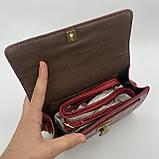 Женская классическая сумочка кросс-боди на ремешке через плечо рептилия крокодил питон красная, фото 7