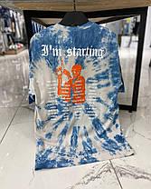 Мужская футболка голубого цвета с разводами, фото 2