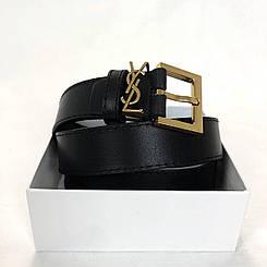 Ремінь шкіряний Yves Saint Laurent/чорний шкіряний ремені/модний коаный ремінь ів сен лоран (люкс копія)