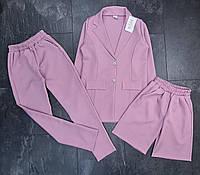 Подростковый костюм-тройка для девочки однотонный пиджак+штаны+штаны размер 10-14 лет, цвет уточняйте при зака