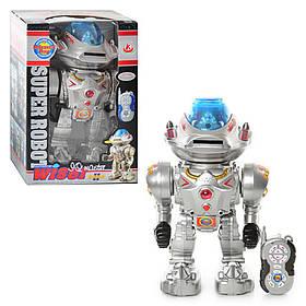 Робот д/у-ИК, муз, звук(англ), свет, танцует, стреляет дисками, на бат-ке,в кор-ке, 32-22-16см