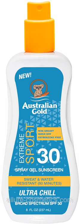 Охлаждающий солнцезащитный спрей гель для загара Australian Gold Spray gel SPF30 Extreme Sport Ultra Chill