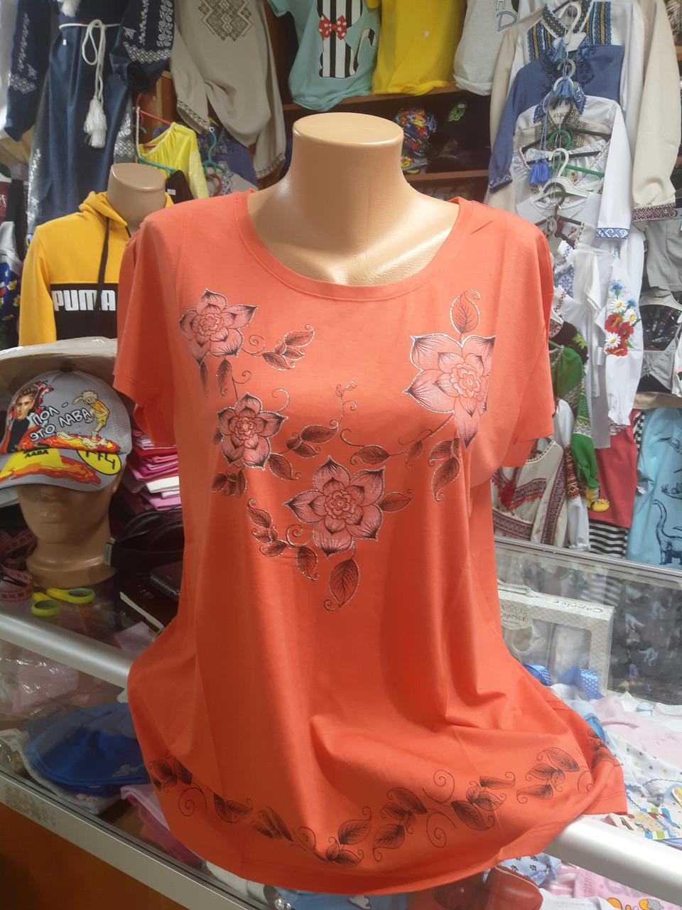 Жіноча літня футболка туніка великі розміри 50 - 54