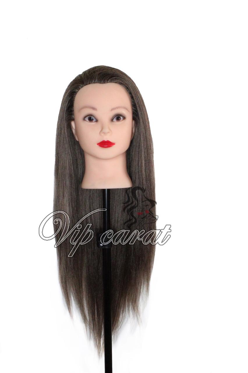 Учебная голова манекен для причесок 30% натуральных волос / болванка для парикмахера