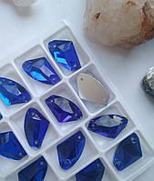 Стразы пришивные Топорик 12х19 мм Sapphire, стекло