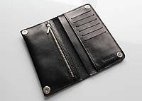 Мужское портмоне, бумажник с закрыванием на кнопках, черный цвет