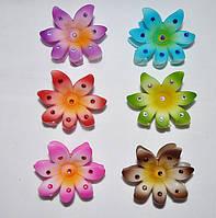 Краб для волос - цветок со стразами (12 шт)