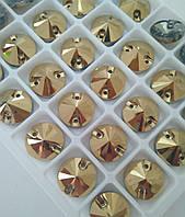 Стрази пришивні Ріволі (коло) d12 мм Gold Hematite (золотий), скло, фото 1