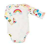 """Дитячий з довгим рукавом BabySoon """"Веселка"""" різнобарвний на молочному тлі 62cm, фото 1"""