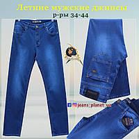 Мужские летние классические джинсы синего цвета большие размеры