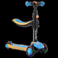 Самокат трехколесный детский 3 в 1 с сиденьем, колеса PU 12см светятся Best Scooter JS-30918