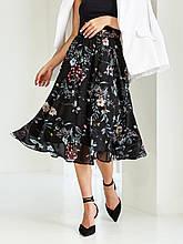 Шифоновая юбка-миди с принтом  ЛЕТО