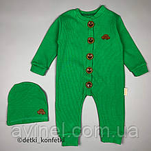 Ромпер на пуговицах, шапка зелёный Рубчик Murat baby Турция 68 (р)