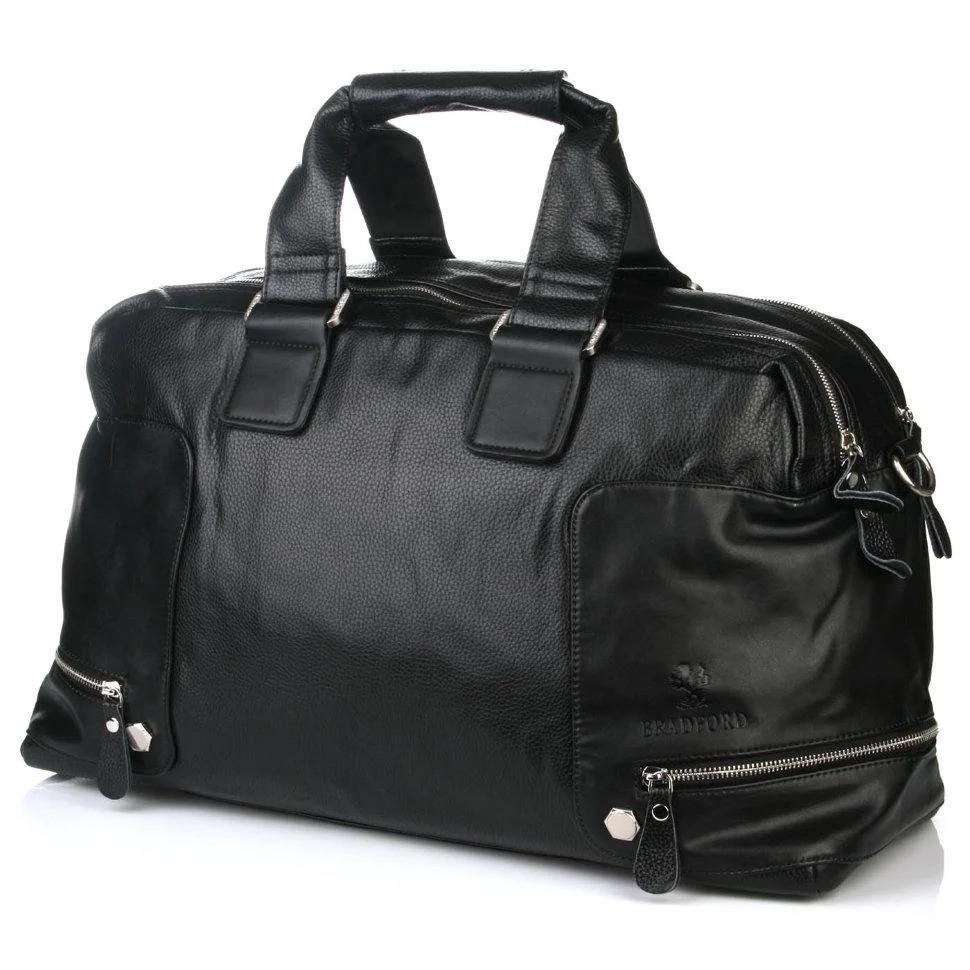 Сумка дорожня багажна велика спортивна чорна на 2 відділу еко шкіра Bradford 66239