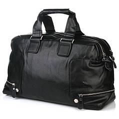 Сумка дорожная мужская багажная большая спортивная черная на 2 отдела эко кожа Bradford 66239