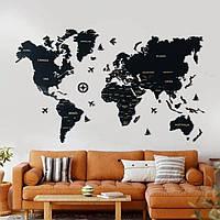 Деревянная карта мира на стену из дерева - Настенная/Декоративная - Черный