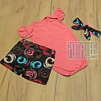 Летний комплект 86 1 год (80) костюмчик боди с крылышками шорты повязка для малышей девочек лето 8099 Розовый