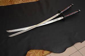 Катаны - комплект Мастер клинков - кованые, гравировка,  ножны, заточка, кожа - ската, змеи, быка. Сталь 30х30