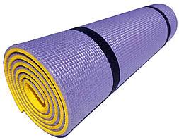 Коврик туристический двухслойный походный каремат 1800х600х10мм, фиолетовый/желтый