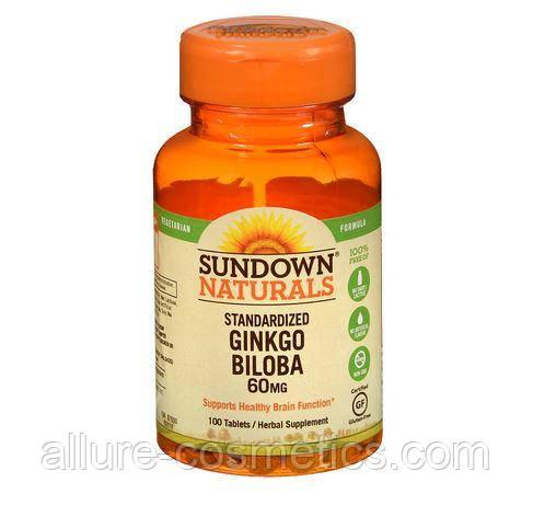Гінкго Білоба Sundown Naturals Ginkgo Biloba plus 60mg 100шт
