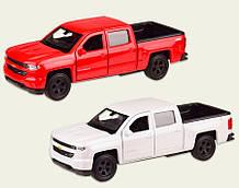 Машинка Шевроле Сильверадо коллекционная модель Chevrolet Silverado металлическая, 1:32, (белая, красная),