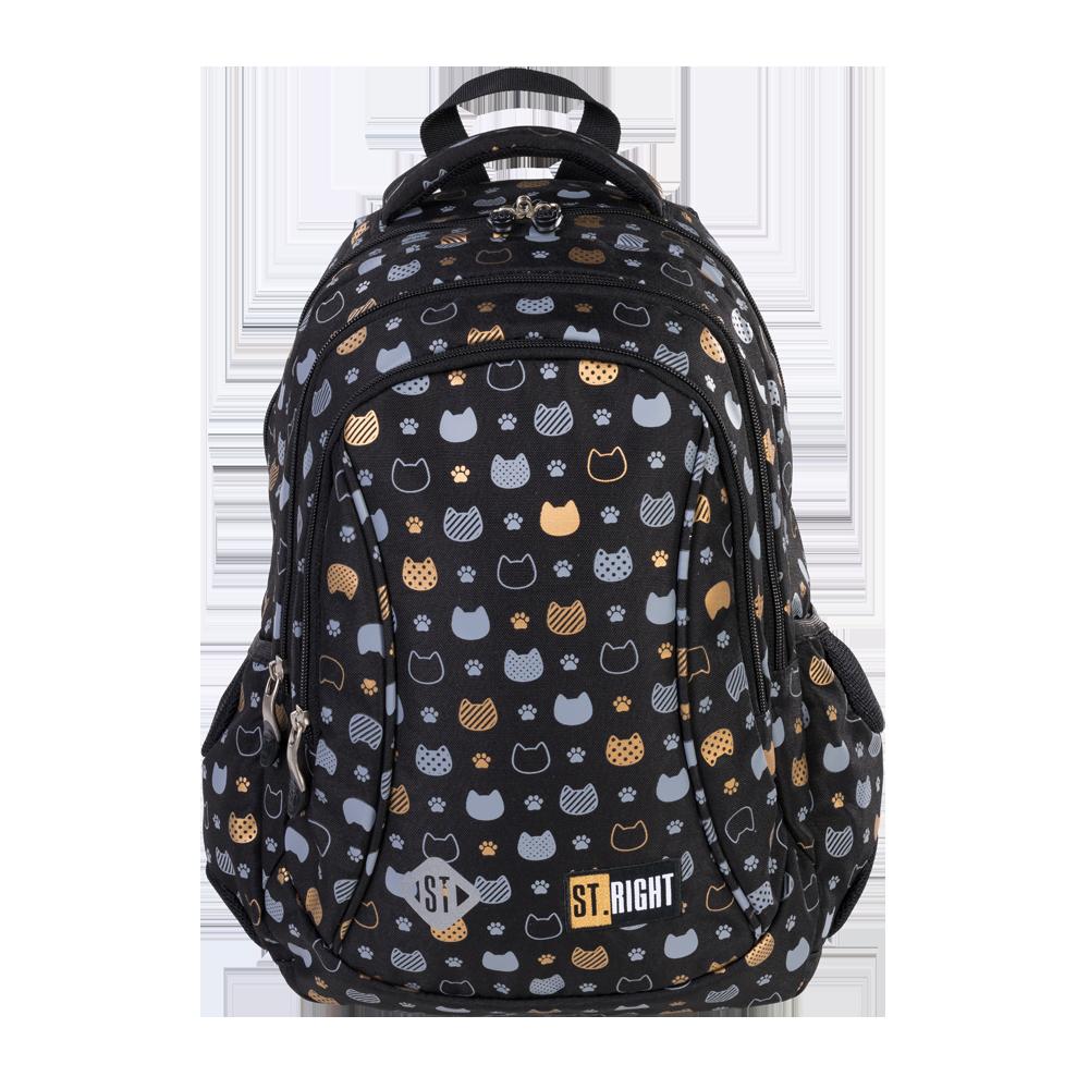Рюкзак шкільний ST.RIGHT BP26 Prestige Cats 650 г 39x27x17 см 20 л Чорний
