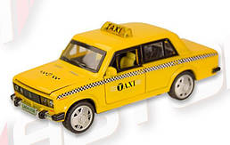 Машинка Жигули ВАЗ-2106 Такси коллекционная модель Lada 2106 металлическая, 1:32-1:36, (желтая), Автопром