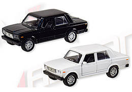 Машинка Жигули ВАЗ-2105 коллекционная модель Lada 2105 металлическая, 1:32-1:36, (белый, черный), Автопром