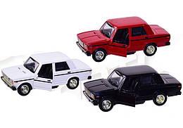 Машинка Жигули ВАЗ-2107 коллекционная модель Lada 2107 металлическая, 1:32-1:36 (красный, белый, черный),