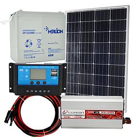 """Комплект солнечной автономной станции """"Холодильник на даче-1"""" 100 Вт, 12В/220В, инвертор 600 Вт чистый синус"""
