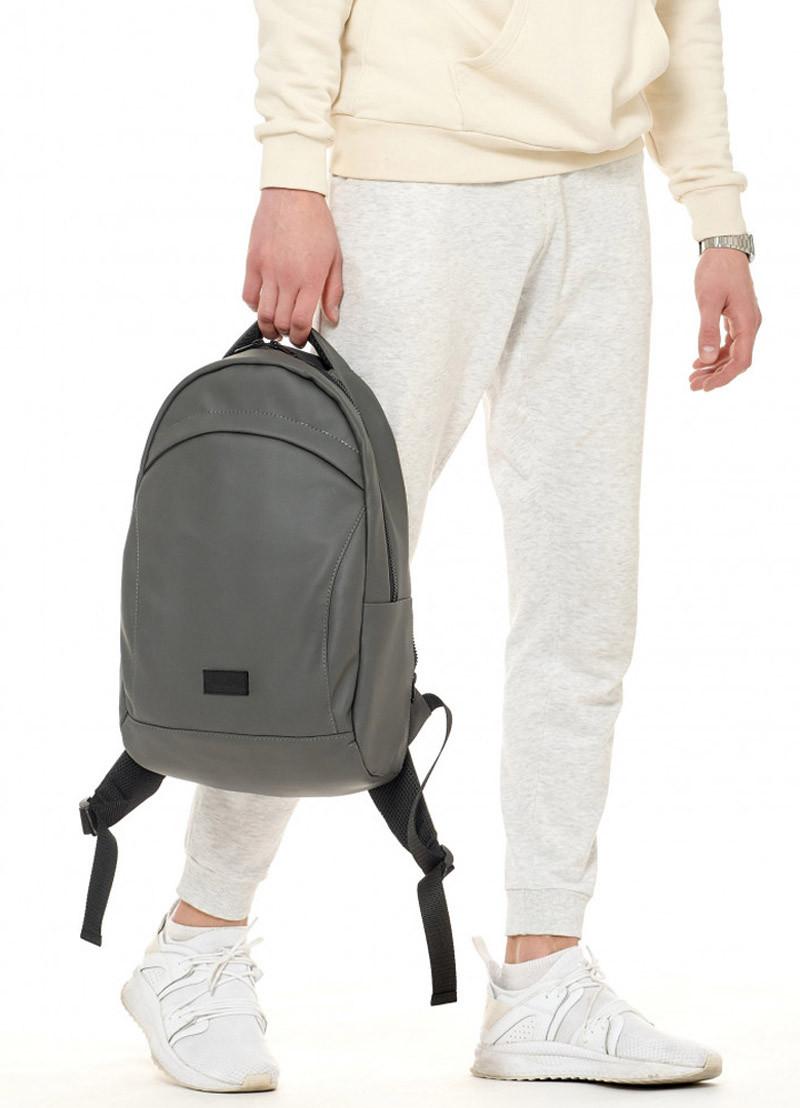 Качественный мужской рюкзак городской, повседневный, для ноутбука, темно-серый графит, матовая эко-кожа