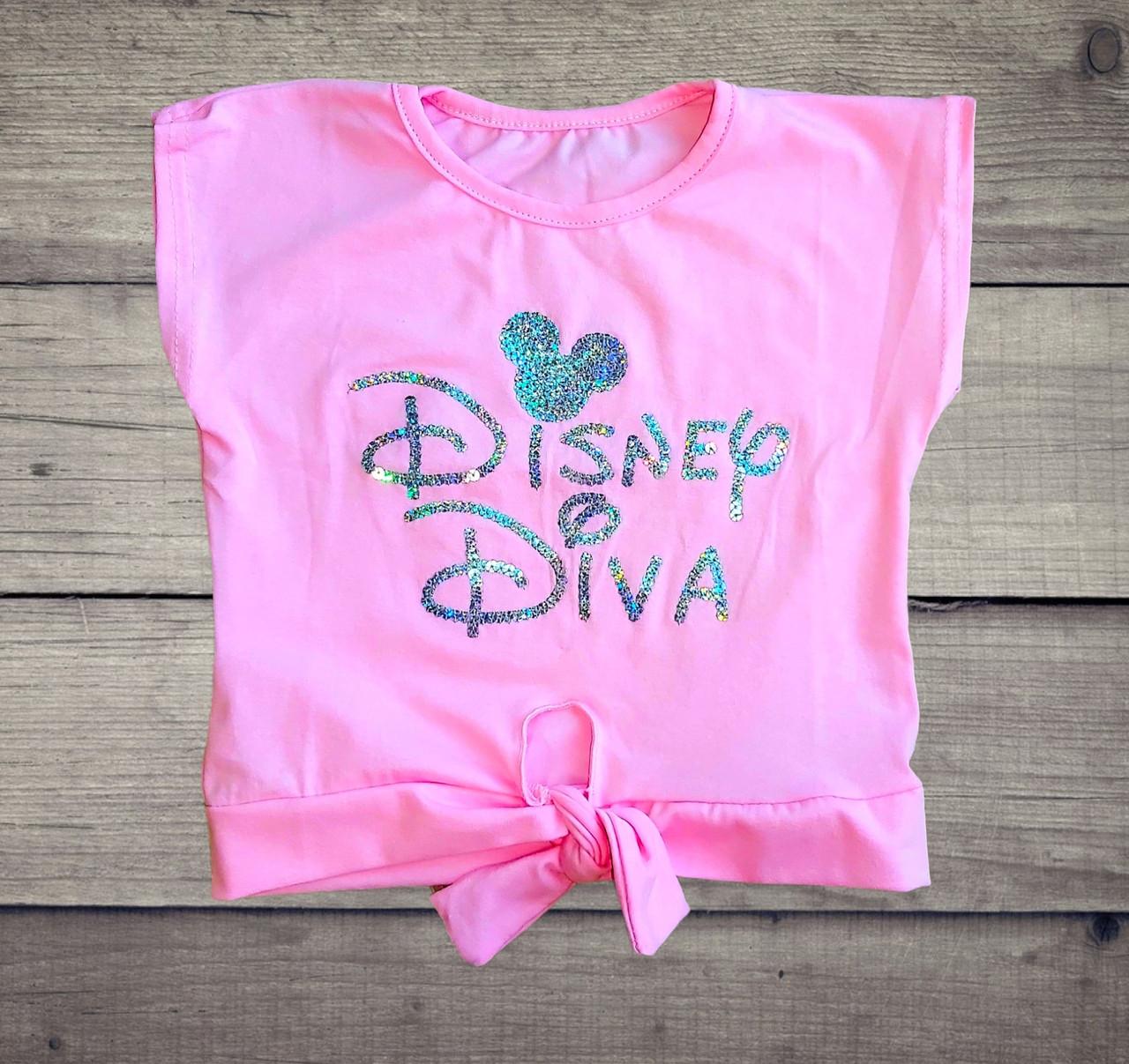 Детская футболка-топ Disney Diva  с пайетками