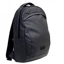 Стильный мужской рюкзак темно-серый (графит) городской, для ноутбука 15,6 из матовой эко-кожи