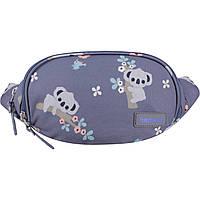 Женская сумка-бананка на пояс с принтом серого цвета 2 л. поясная текстильная сумка женская с енотом принт, фото 1