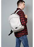 Стильный мужской серый рюкзак городской, повседневный, для ноутбука 15,6 матовая эко-кожа, фото 5